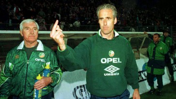 30 April 1997; Republic of Ireland manager Mick McCarthy pictured at the final whistle after his side's defeat to Romania. World Cup Qualifier, Romania v Republic of Ireland, Bucharest, Romania. Soccer. Picture credit; David Maher/SPORTSFILE