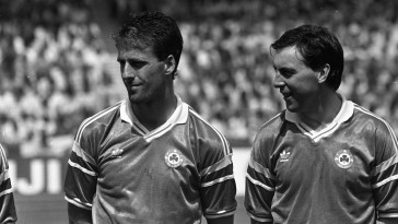 88  Stuttgart...Republic of Ireland (the winners)  v England game in the European Championship Finals...Pic Jim O'Kelly 12 June 1988  Mick McCarthy (left) and Tony Galvin (Both ROI) (Part of the NPA and Independent Newspapers)  Soccer